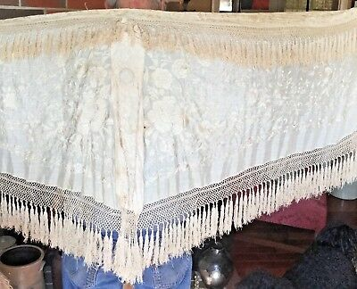 """Antique Canton Chinese Hand Embroidered Cream Silk Piano Shawl 68"""" + 8"""" Fringe"""