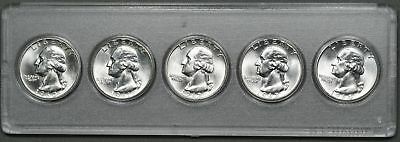 1960 - 1964 Uncirculated Washington Silver Quarters, BU Lot of 5 Different Dates