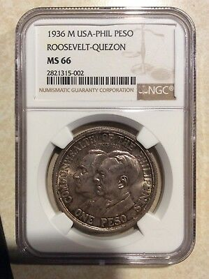 US Philippines 1936 M Rossevelt Quezon One Peso, NGC MS 66, rare coin and grade!