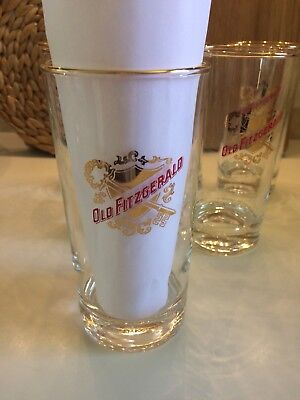 Vtg Old Fitzgerald Libbey Stitzel Weller Bourbon Whiskey Red Gold Bar Glass