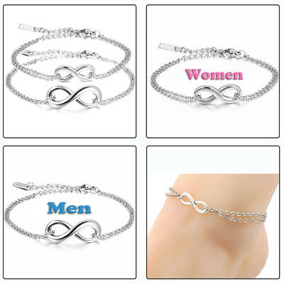 "Couple's Charm Infinity Love Symbol ""8"" Stainless Steel Chain Anklet Bracelet US"