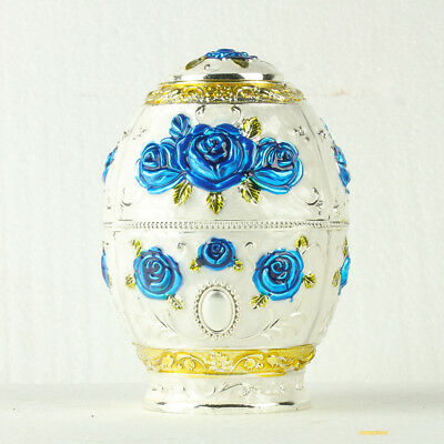 Chinese Cloisonne Handmade Carved Blue Rose Flower Toothpick Box @JTL3053