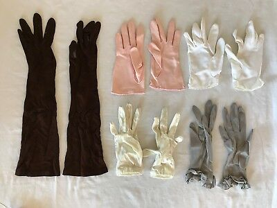 Lot 5 Pairs Vintage Ladies Sunday Dress Gloves Long Brown Evening Assorted Color