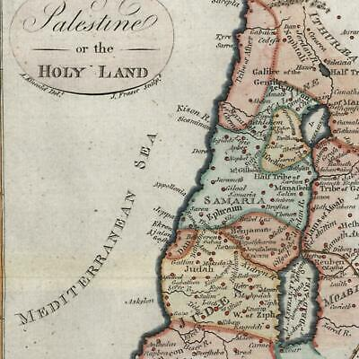 Holy Land Samaria Judea Galilee Middle East 1795 J Fraser rare lovely old map