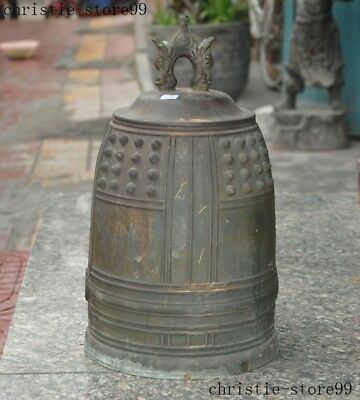 Huge Old Chinese Temple Pure Bronze Copper Dragon Statue Chimes Chime Bell Chung