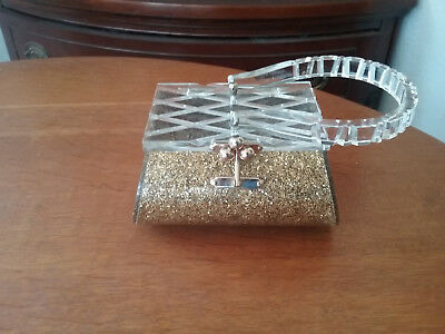 Vintage Clear  Lucite/ Gold Netting And Glitter  Box Purse