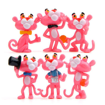 Pink Panther 6 PCS Panther Animation Action Mini Figure Kid Gift Cake Topper Toy