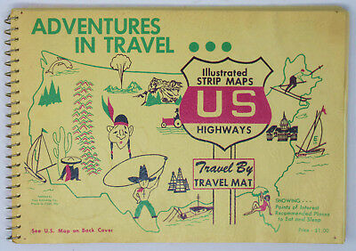 Vintage Atlas United States Illustrated Strip Maps TRAVEL MAT Book Circa 1960