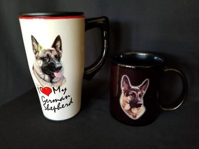 Lot Of 2 German Shepherd Dog Lover Coffee Cups Xpres Cup Spoontiques Travel Mug