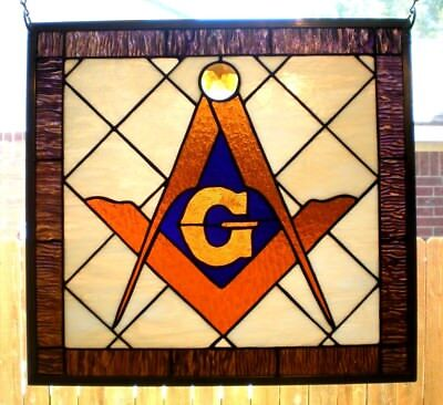 """Stained Glass Window Panel Hanging Masonic Square & Compasses  18 1/2"""" x 17 1/2"""""""