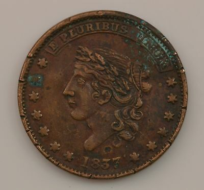 """1837 """"Not One Cent"""" Hard Times Token *710"""