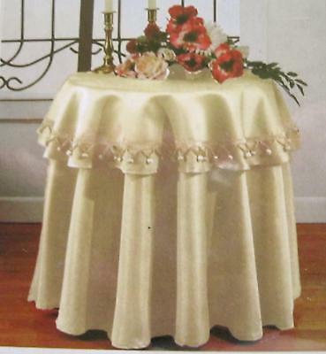 "Valencia Ivory 70"" Rd Tablecloth & 36"" Topper Set with Decorative Fringes NIP"
