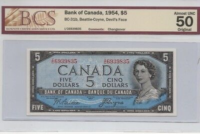 1954 Bank of Canada $5 Devils Face Changeover Beattie-Coyne