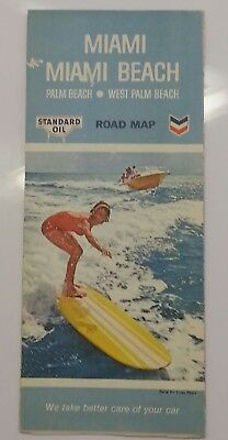 1967 Standard Oil Miami Beach Vintage Road Map photos by Delta airline NOS