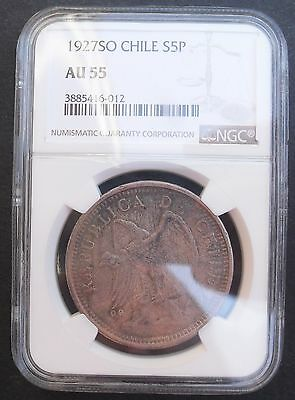 1927 SO Chile 5 Pesos , NGC AU 55  , nice silver coin, attractive toning=.