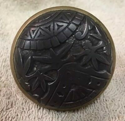 Antique Victorian Cast Iron/Brass Door Knob Doorknob 2 1/4""