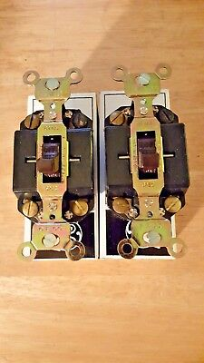 Lot Of 2 GE 5042-1 Double Pole Brown Switch NOS