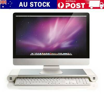 Computer Laptop Monitor Stand Aluminum LCD Screen Riser 4USB Ports For PC iMac