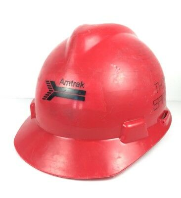 Vintage 1981 Red Amtrak Train Work Plastic Hard Hat Helmet Construction VTG