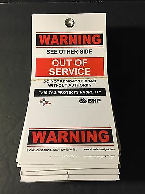 """25x Warning Out of Service Lockout Tag 7-1/2"""" x 4"""" with Removable Stub"""