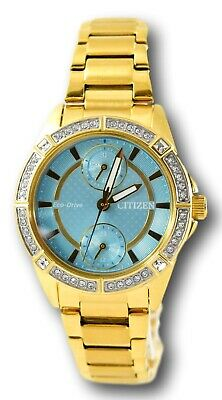 Citizen Eco-Drive Women's Teal Dial Gold Stainless Crystal Watch FD3002-51X