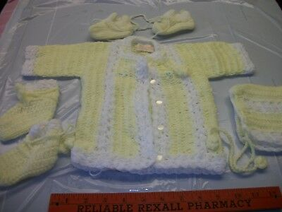 Baby Crochet Hand Made 3 pcs. Pale Yellow Sweater Set & plus extra booties