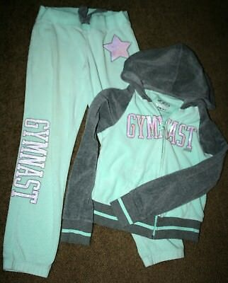 Justice Girl's Aqua Velour 2-Piece Hooded Track Suit, Silver Sequins, Sz 8