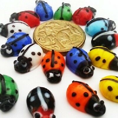 Glass Ladybug Droplets Large - Mixed x 15