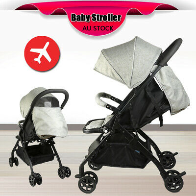 Grey Lightweight Baby Toddler Stroller Jogger Pram Compact Fold Travel on Plane