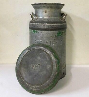 """Vintage PET MILK CO. Embossed Metal Can with Lid 20"""" Tall Farmhouse Dairy Decor"""