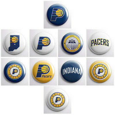 """INDIANA PACERS - NBA basketball pinback buttons - sports team badges - 1"""" pins"""