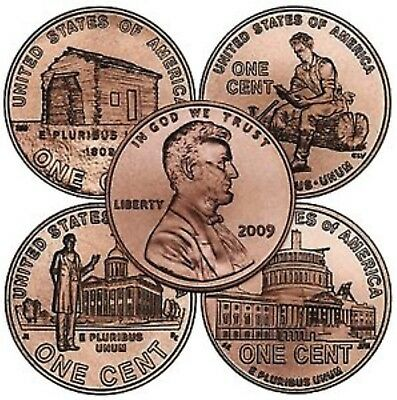 Lincoln 2009 Cent - Complete Set - Penny P&D Mint, 8 Coins, BU.
