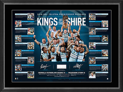 Cronulla Sharks 2016 Nrl Premiers Hand Signed Framed Kings Of The Shire Print