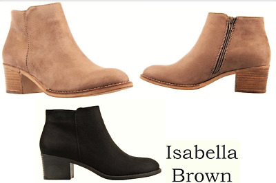 New mid heel zip ankle boots Isabella Brown Shoes - AVA