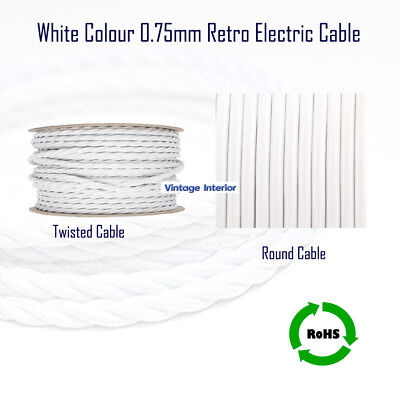 Electric Lighting Cable 3/2Core Vintage Styl Silk Braided Flexible Round/Twisted