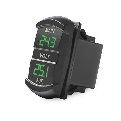 Upgrated Dual Voltmeter Green LED Digital Panel for Dual battery Monitor 10-60V