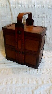 antique oriental picnic hamper box case chinese japanese c1900
