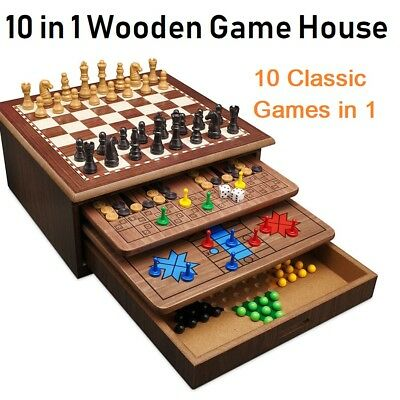 10 in 1 Wooden Board Games House Set Chess Checkers Backgammon Snakes & Ladders