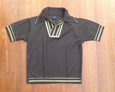 VINTAGE SUPER-SETTA BY CAMPUS USA BROWN POLYESTER SHIRT CIRCA 1960's