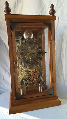 Old World1850s/1860s Style Rare Fusee Brass Skelton Clock working order with key