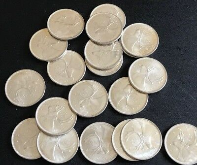 (20) 1964 CANADA 25 CENT SILVER QUARTER DOLLARS (Beautiful Lot of 20)