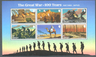 Jersey-The Great War-100 years-Battles-Somme-Gallipoli mnh min sheet-Military
