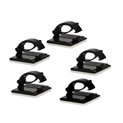 10pc Black Plastic Self-adhesive Wire Fixed Clip Cable Holder Clips For Wire