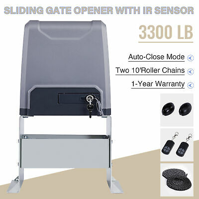 Electric Sliding Gate Opener 3300lbs Automatic Motor Remote Kit Heavy Duty!