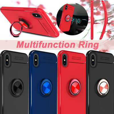 For iPhone X / 7/ 8 Plus Luxury Magnetic Ring Holder Stand Slim Phone Case Cover