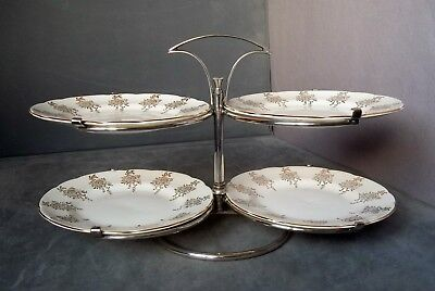 c1890 RARE HUKIN & HEATH (SILVERSMITHS) REVOLVING CAKE STAND; HEAVY SILVER PLATE