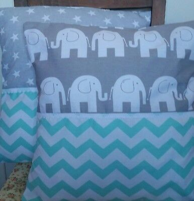Elephant nursery cushions chevron mint green lemon stars pair two handmade