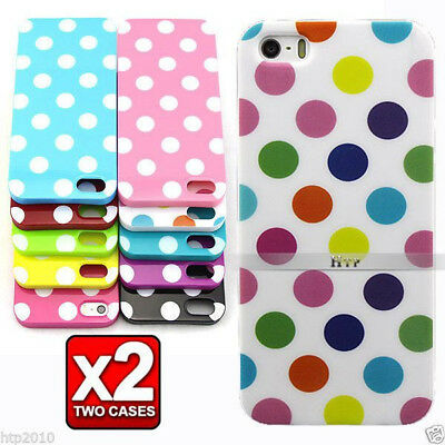 2x iPhone 5S / 5 Slim Polka Dot Soft Case Cover For Apple AU