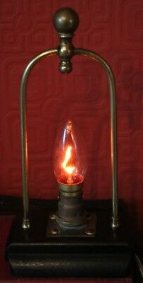 EARLY 20th CENTURY BRASS & WOOD LAMP - FLICKER / FLAME LIGHT BULB INCLUDED