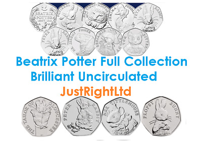 Beatrix Potter coins collection Full range 2016, 2017, 2018 BU coins and Albums